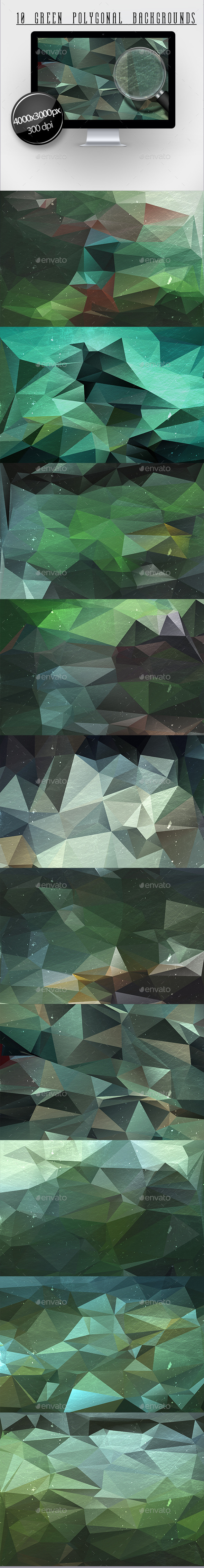 10 Green Polygonal Backgrounds - Backgrounds Graphics