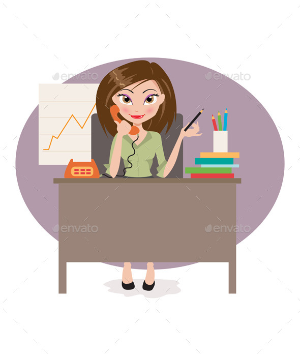 Business Woman in Office - People Characters
