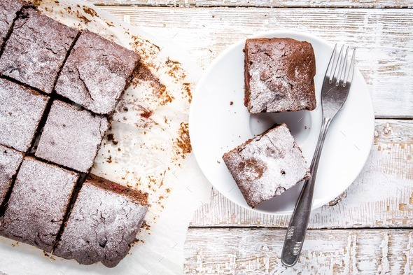 homemade chocolate brownie dessert pieces - Stock Photo - Images