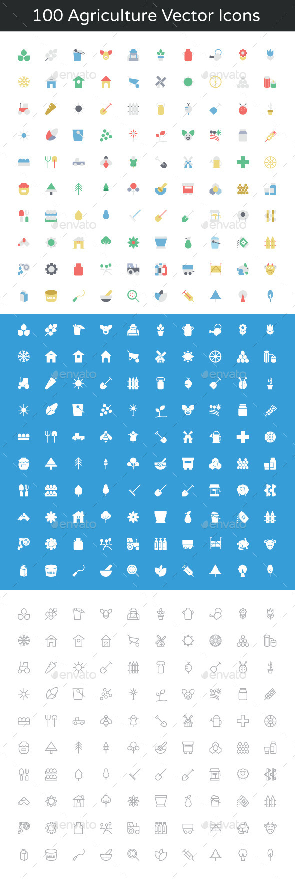 100 Agriculture Vector Icons - Icons