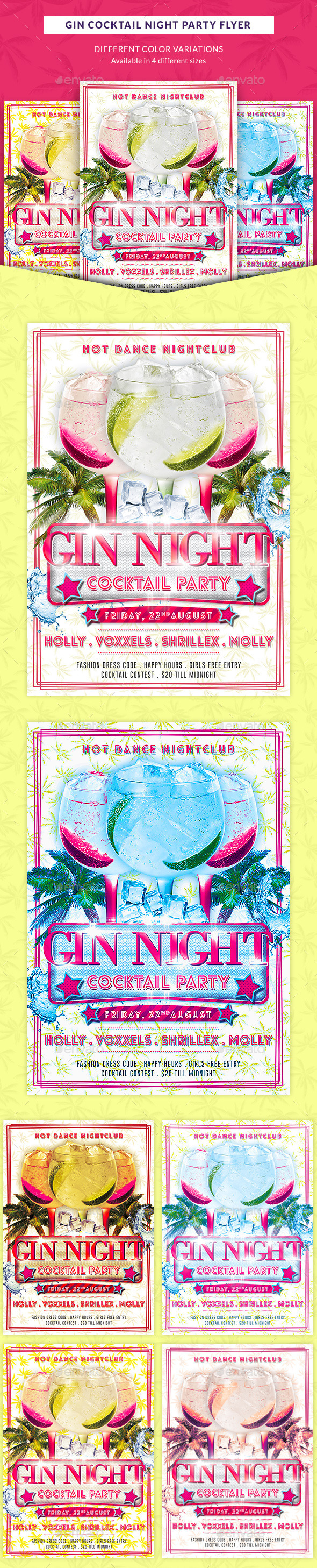 Gin Cocktail Nights Party Flyer - Clubs & Parties Events