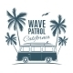 Vintage Van with Palms and a Gull - GraphicRiver Item for Sale