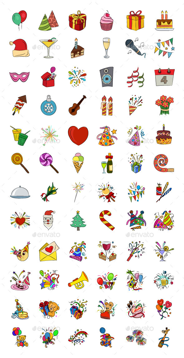 Celebration Hand Drawn Vector Icons - Icons
