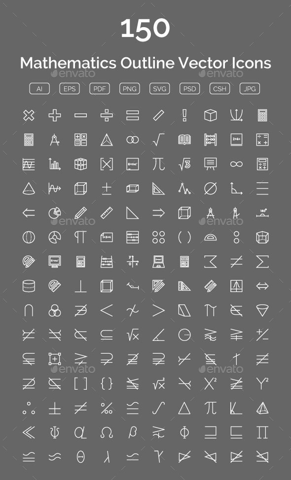 150 Mathematics Outline Vector Icons - Icons
