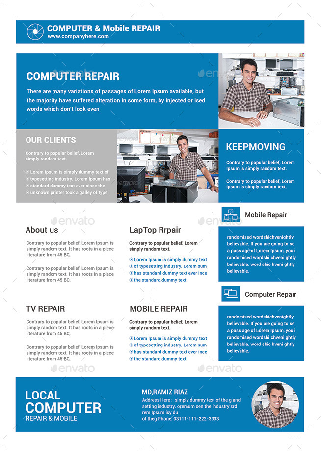 Computer & Mobile Repair Flyer Template By Afjamaal | Graphicriver