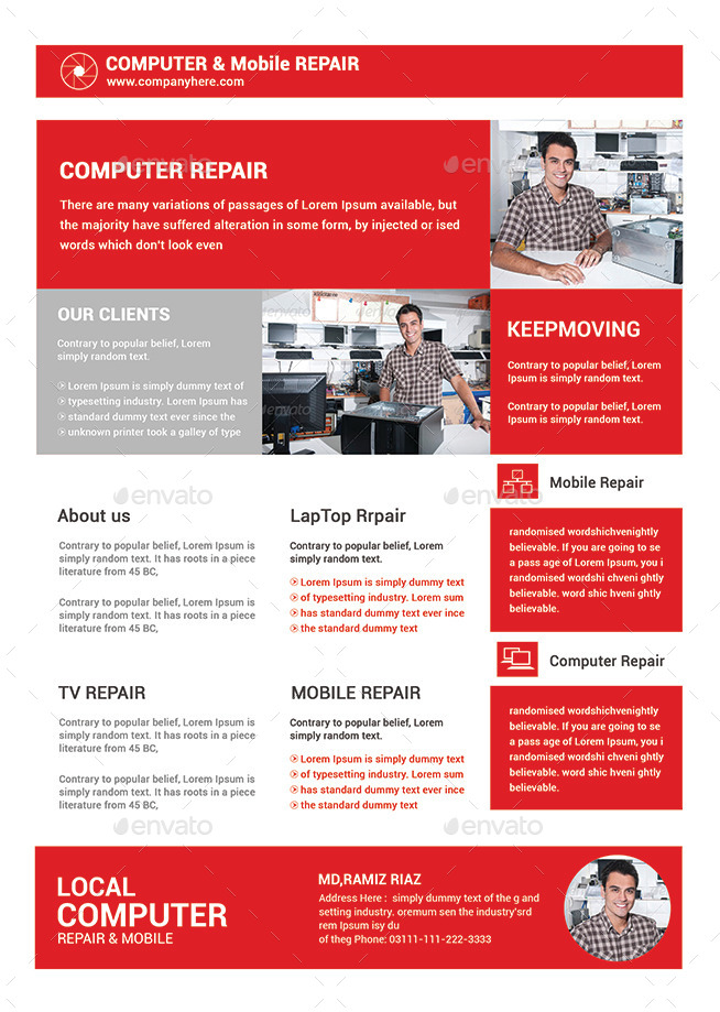 Computer  Mobile Repair Flyer Template By Afjamaal  Graphicriver