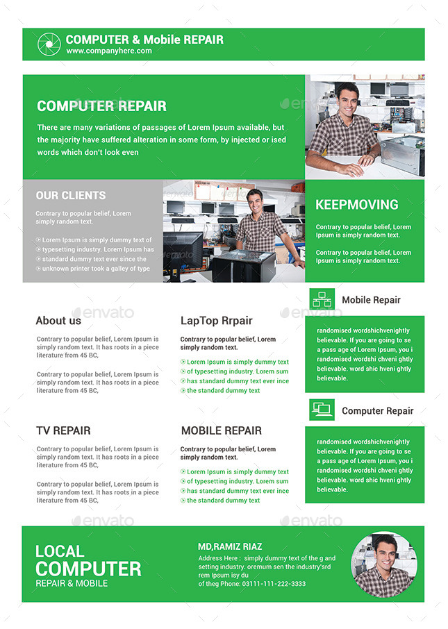 Computer Mobile Repair Flyer Template by afjamaal – Computer Repair Flyer Template