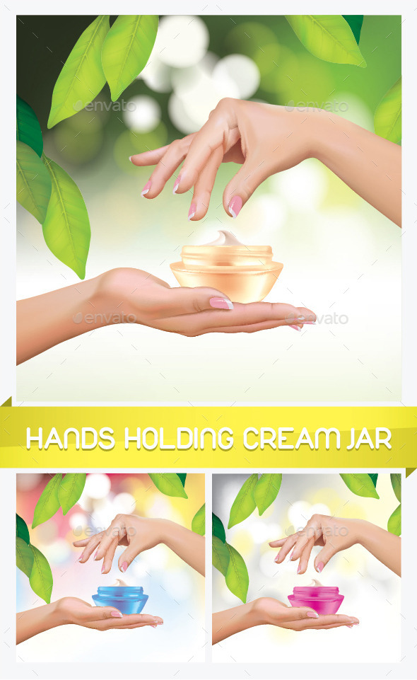 Hands Holding Cream Jar - Health/Medicine Conceptual