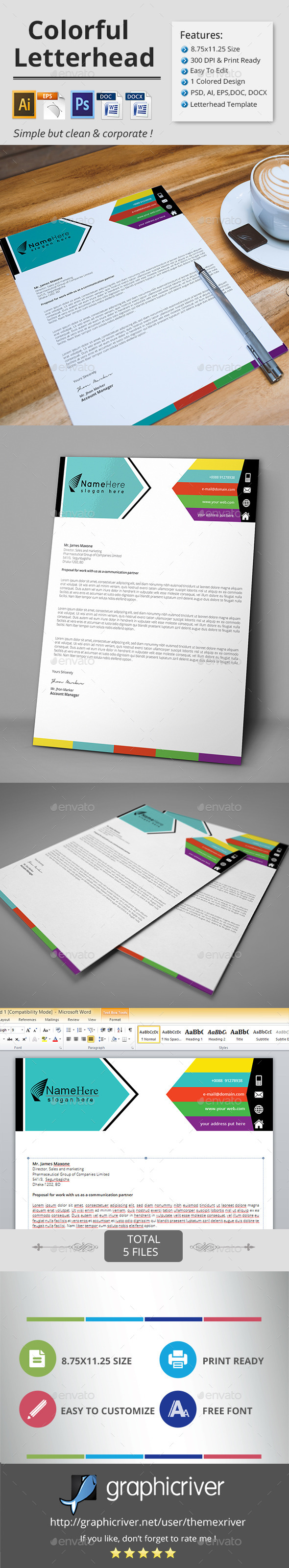 Colorful Letterhead  - Stationery Print Templates
