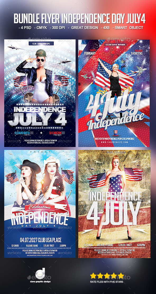 Bundle Flyer Independence Day July 4 - Events Flyers