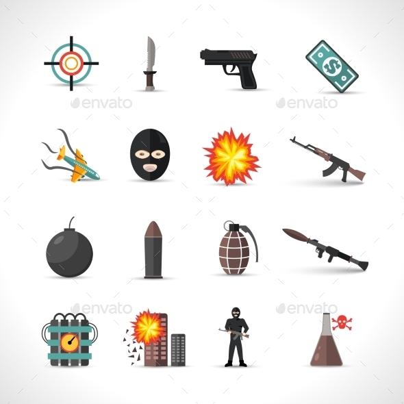 Terrorism Icons Set - Icons