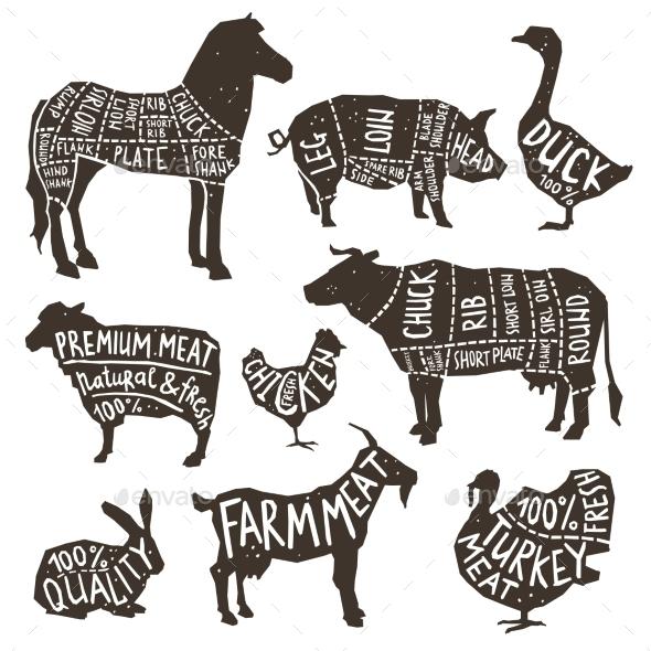 Farm Animals Silhouette Typographics - Animals Characters