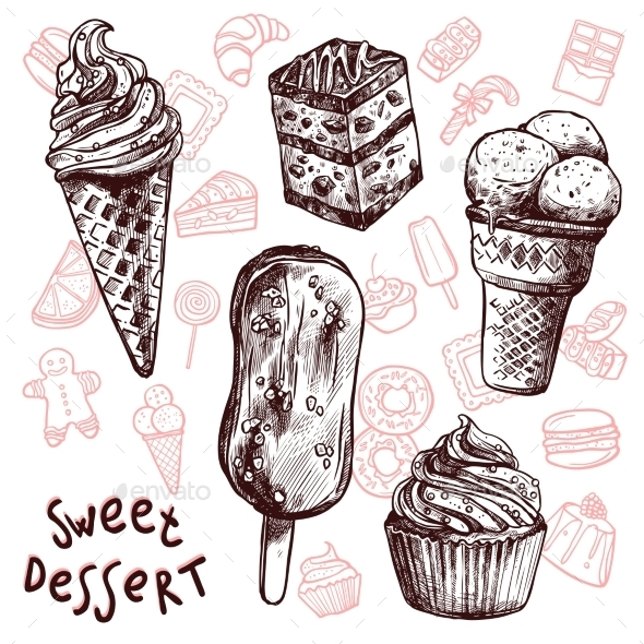 Ice Cream and Cakes Sketch Set - Food Objects