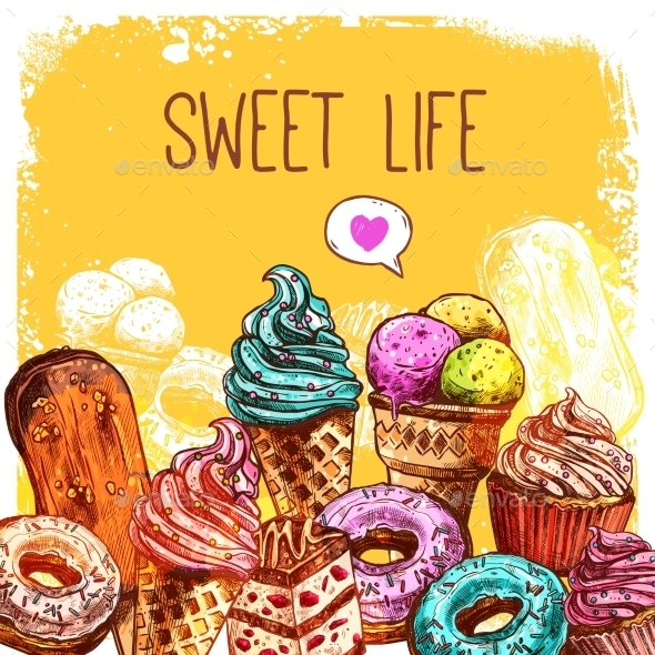Sweets Sketch Illustration - Food Objects