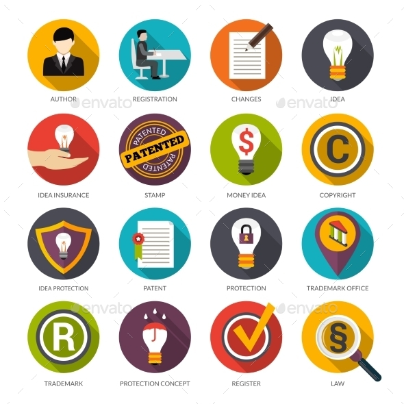 Patent Idea Protection Icons - Business Icons