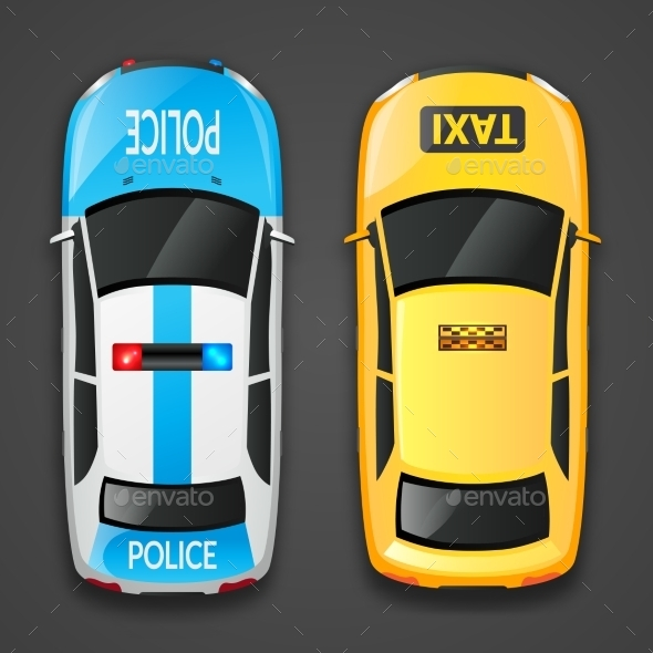 Police and Taxi Cars - Miscellaneous Vectors