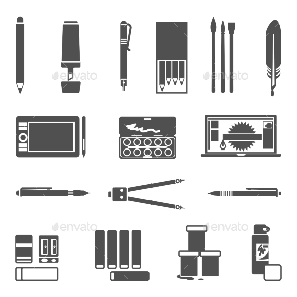 Drawing Tools Icon Set - Objects Icons