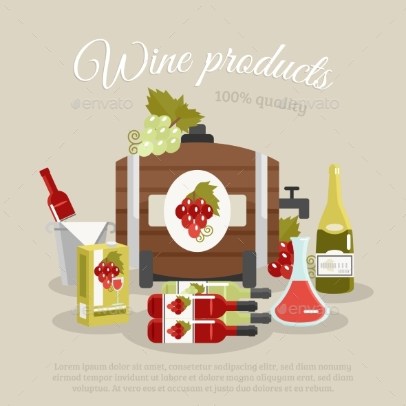 Wine Products Flat Life Still Poster - Miscellaneous Vectors