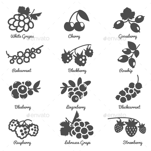 Berries Flat Icons Set - Miscellaneous Icons
