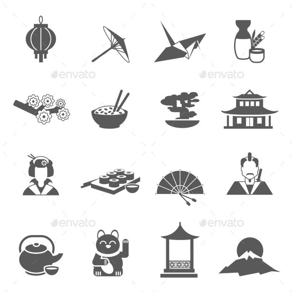 Japan Silhouette Flat Icon Set - Miscellaneous Icons