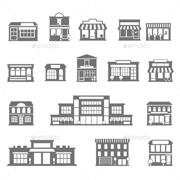Stores And Malls Black White Icons Set - Buildings Objects