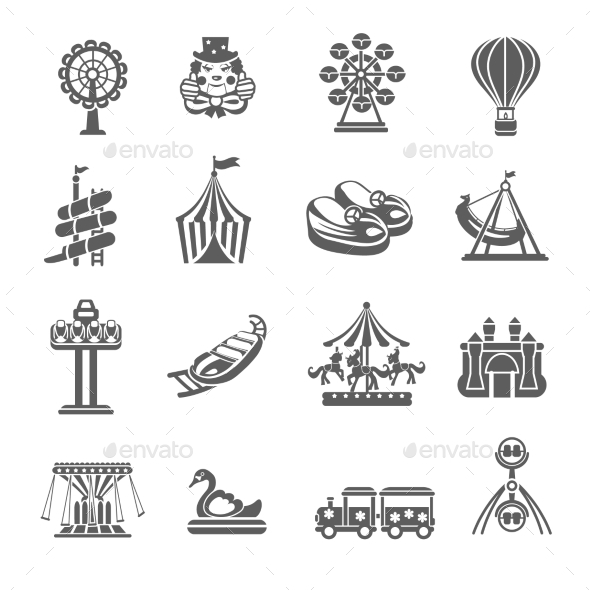 Amusement Park Icons Set - Miscellaneous Icons