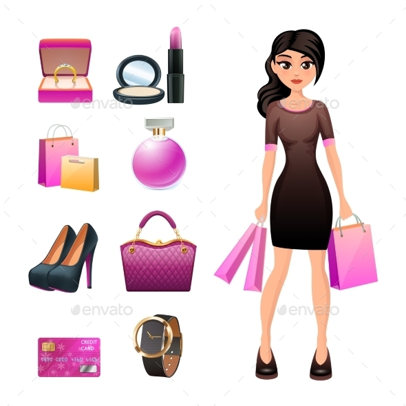 Women Shopping Decorative Set - Retail Commercial / Shopping
