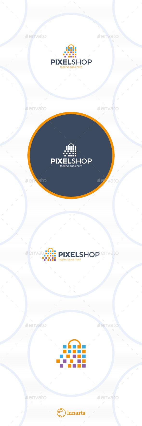 Pixel Shopping Logo - Symbols Logo Templates
