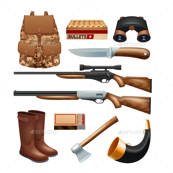 Hunting Tackle and Equipment Icons Set - Man-made Objects Objects