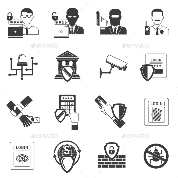 Bank Security Black Icons Set - Technology Icons