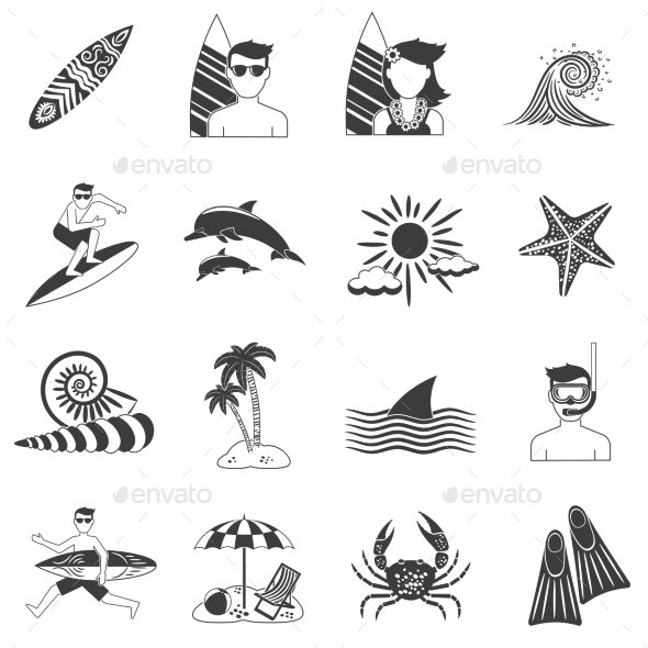 Surfing Icons Black - Sports/Activity Conceptual
