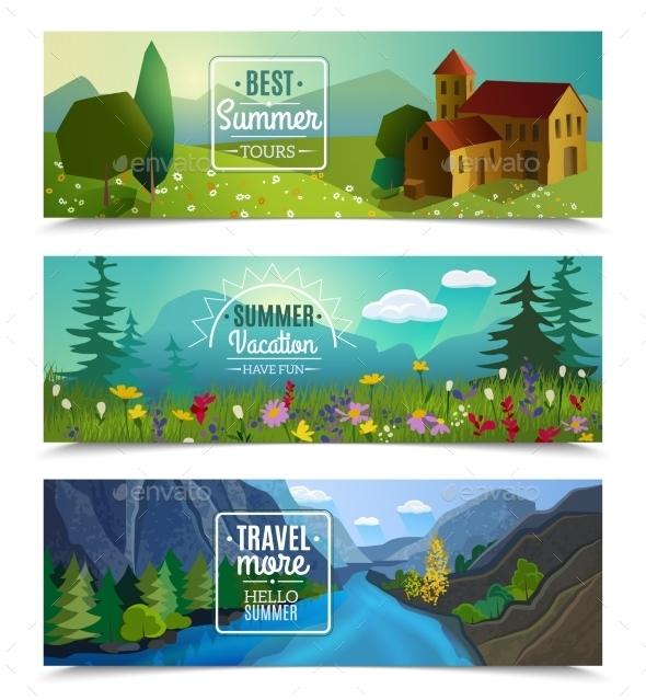 Summer Landscape Horizontal Banners Set - Landscapes Nature
