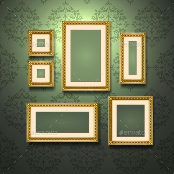 Golden Frames on Wall - Miscellaneous Vectors