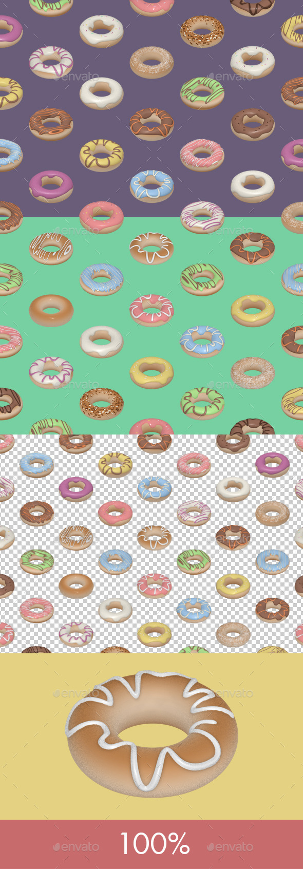 Donuts Seamless Tile - Patterns Backgrounds