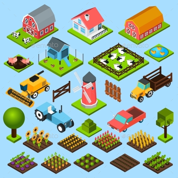 Farm Isometric Icons Set - Miscellaneous Conceptual