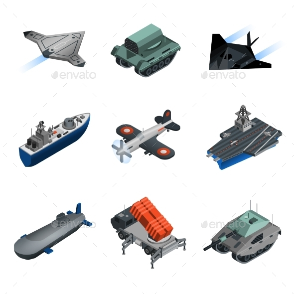Military Equipment Isometric Set - Man-made Objects Objects