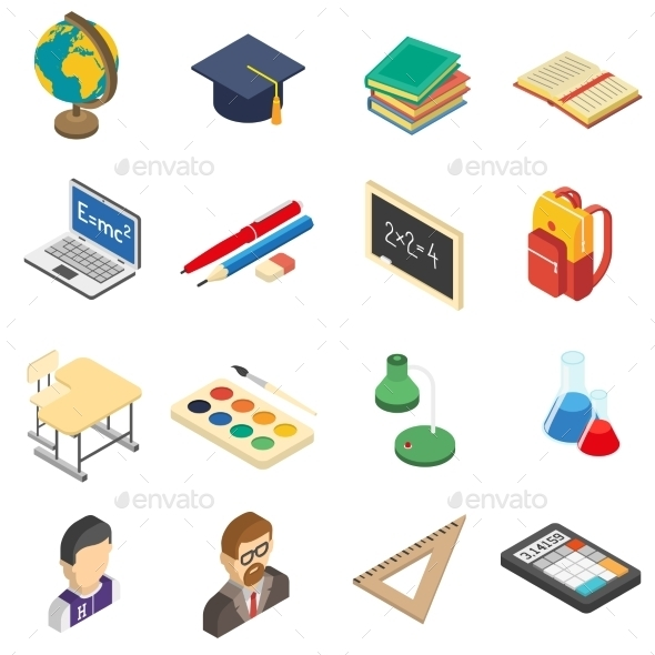 School Isometric Icons Set - Objects Icons