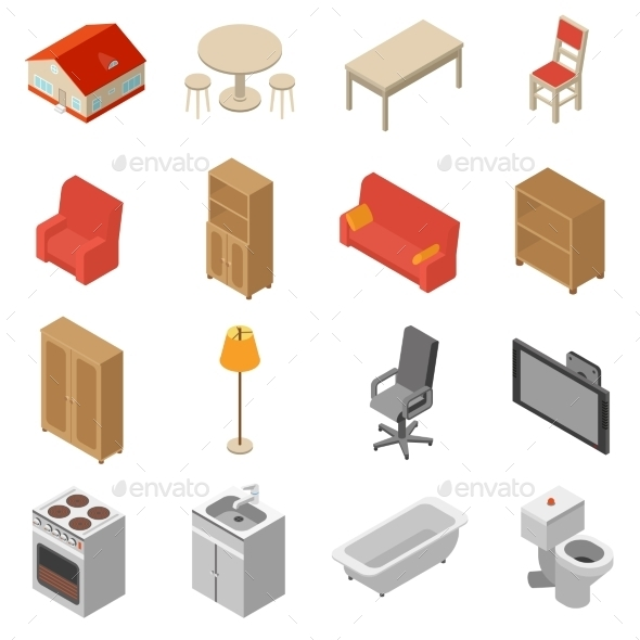 Interior Isometric Icons Set - Man-made Objects Objects