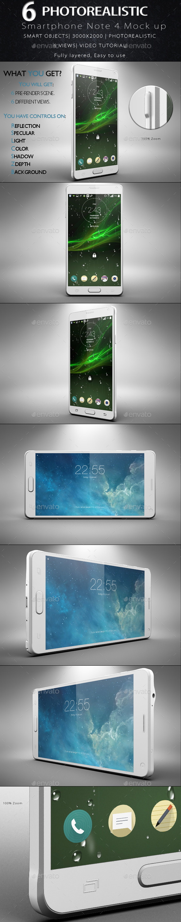 Galaxy Note 4 Smartphone Mock Up - Product Mock-Ups Graphics