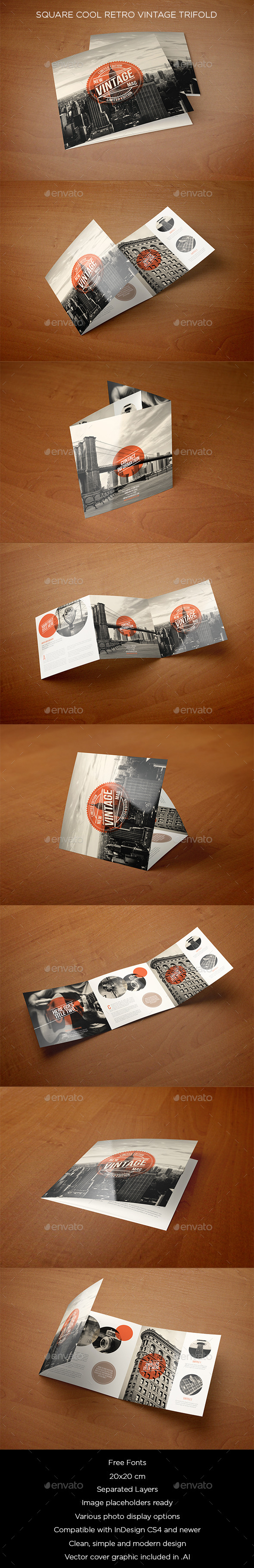 Square Cool Retro Vintage Trifold - Brochures Print Templates