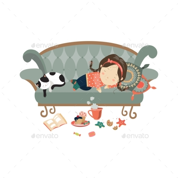 Lazy Sleeping Girl with Cat - People Characters