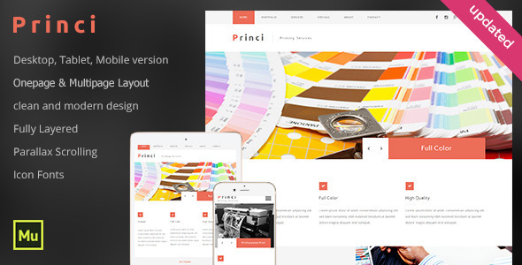 Princi – Printing Services Web Template