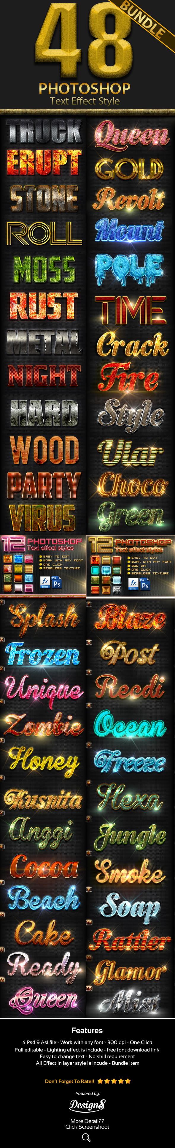 48 Photoshop Style Bundle Part 1 - Text Effects Styles