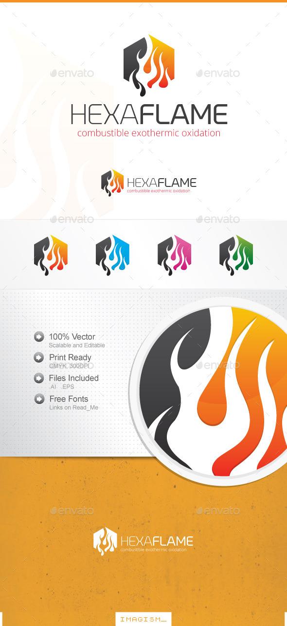Hexa Flame Logo - Symbols Logo Templates