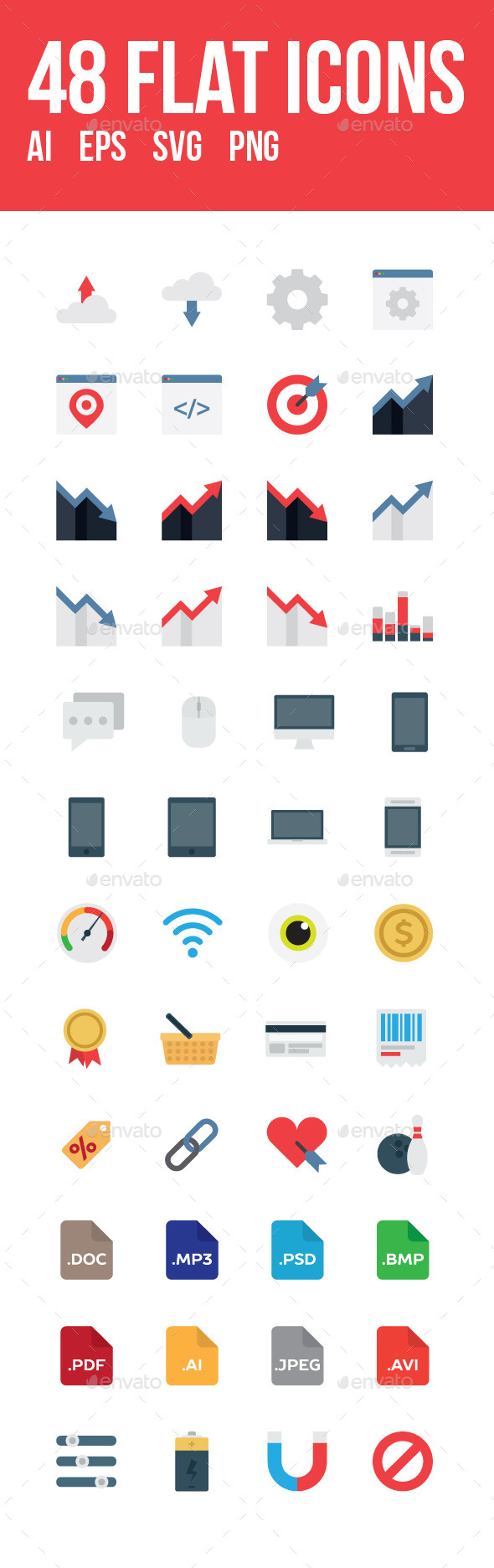 48 vector flat icons - Icons