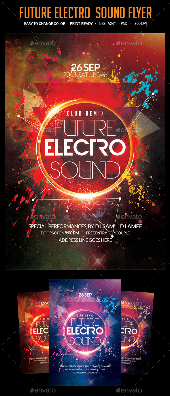 Future Electro  Sound Flyer - Clubs & Parties Events