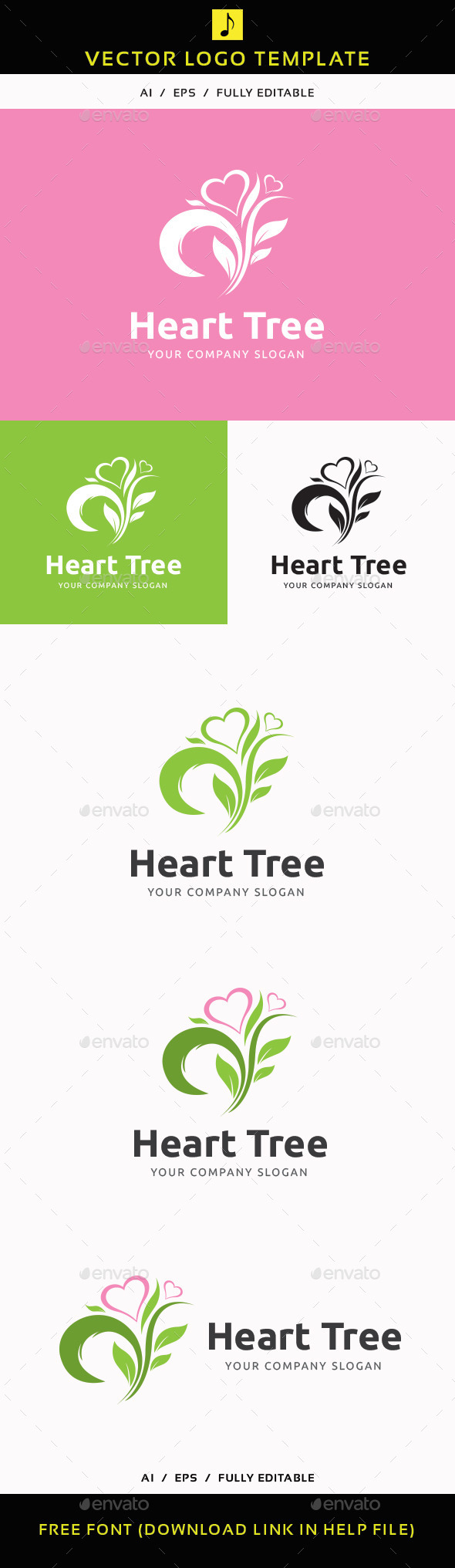 Heart Tree - Nature Logo Templates