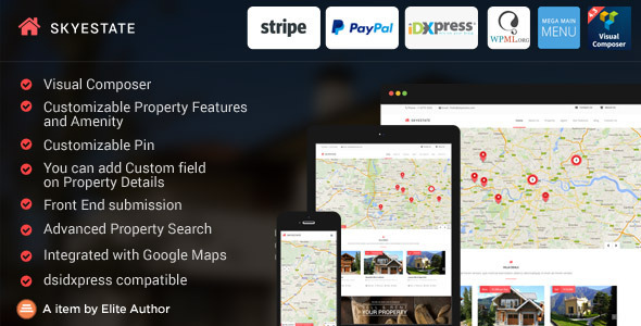 Skyestate – Real Estate with Front end Submission WordPress Theme
