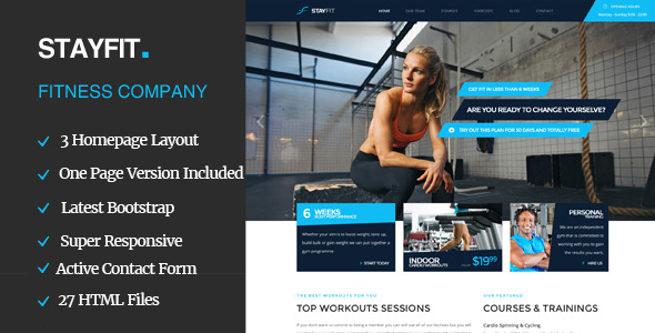 Stayfit | Sports, Health, Gym & Fitness HTML Template