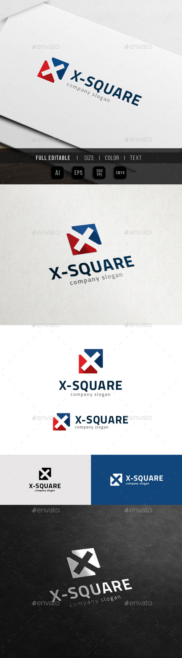 X Logo - Square Cross Sport - Letters Logo Templates